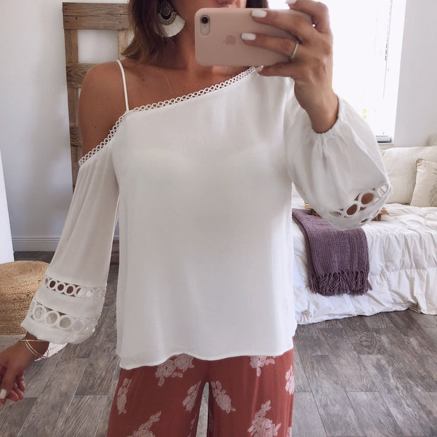 White Patchwork Plain T-Shirts Blouses