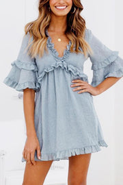 Sexy Light Blue V Neck Short Sleeves Mini Dress