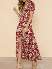 V Neck  Slit  Floral Printed Maxi Dress