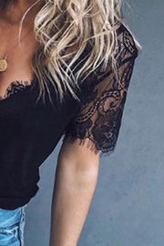 Deep V Neck  Decorative Lace  Plain T-Shirts