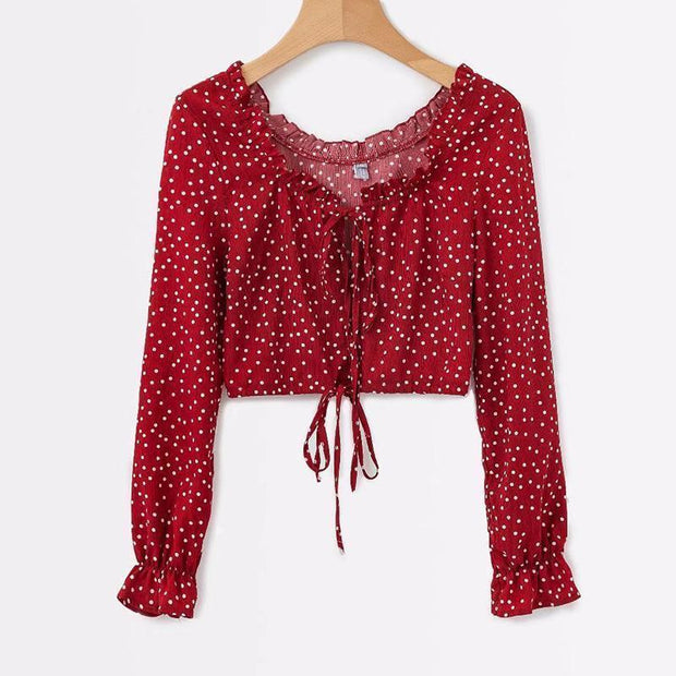 Round Neck Lace Up Polka Dots Mini Blouse