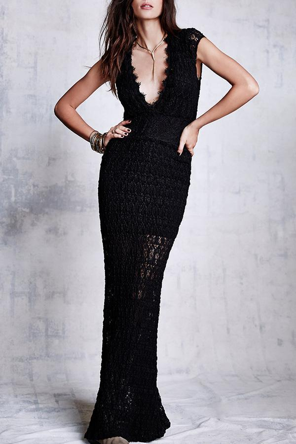 Fashion Sexy V Collar Lace Hollow Out Evening Dress