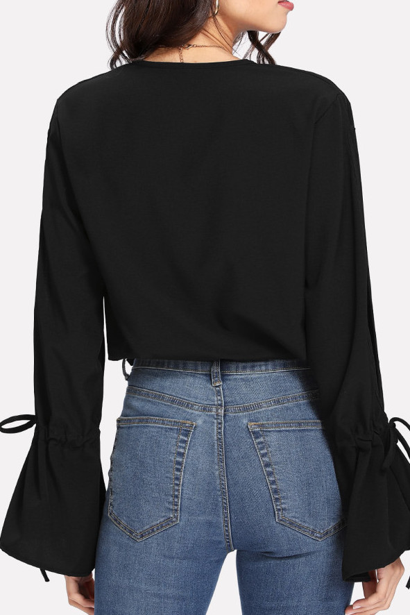 Sexy Deep V Collar Slit Sleeve Blinding Plain Shirt