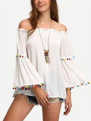 Tassel Off-Shoulder Trumpet Sleeve T-Shirt