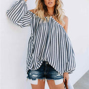 Stripes Halter Off Shoulder Long Lantern Sleeve Shirt