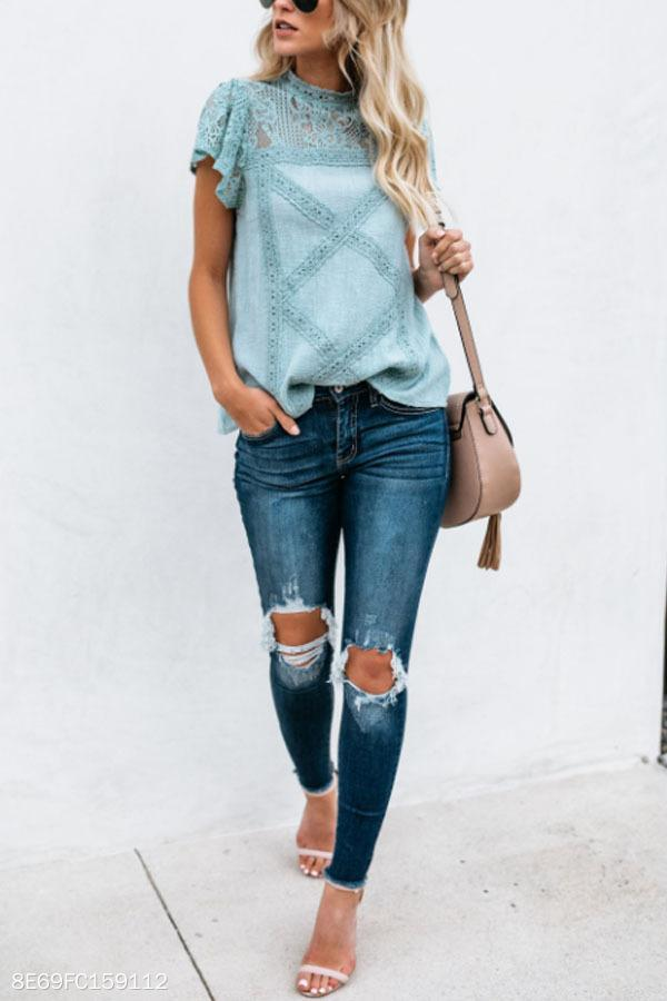 High Neck  Hollow Out Plain  Blouses