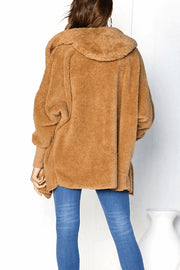 Hooded Fur Collar Plain Outerwear
