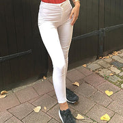 High Waist Elastic White Female Jeans