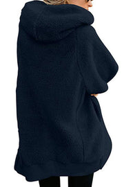 Hooded Zipper Plain Outerwear