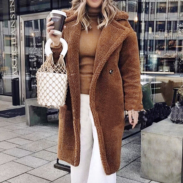 Lapel Pure Color Long Sleeves Overcoat
