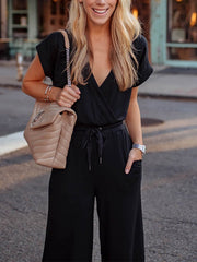 Casual Belted V Neck Pure Colour Short Sleeve Jumpsuits