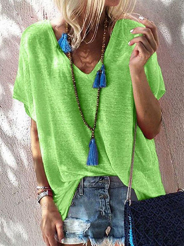 Fashion V Neck Loose Short Sleeve T-Shirt