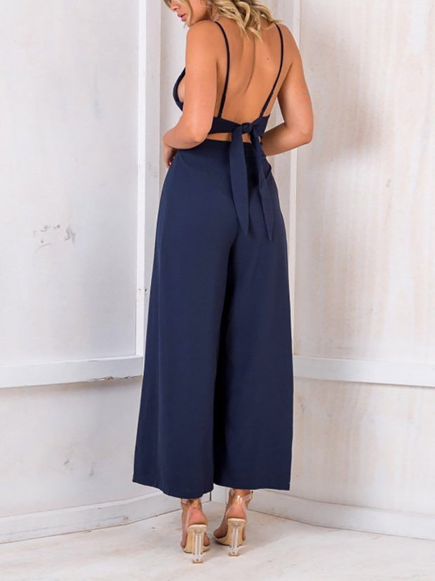 Sexy Bare Back V Neck Bow Sling Broad Leg Jumpsuits