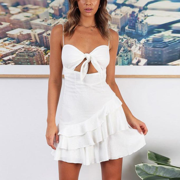 2019 Women's New Slim Bow Tie Smock Dress