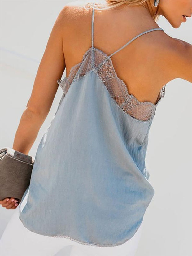 Fashion Lace Sling Pure Colour Sleeveless Vest