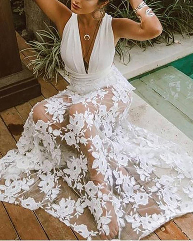 V-Neck Halter Sexy Lace Dress
