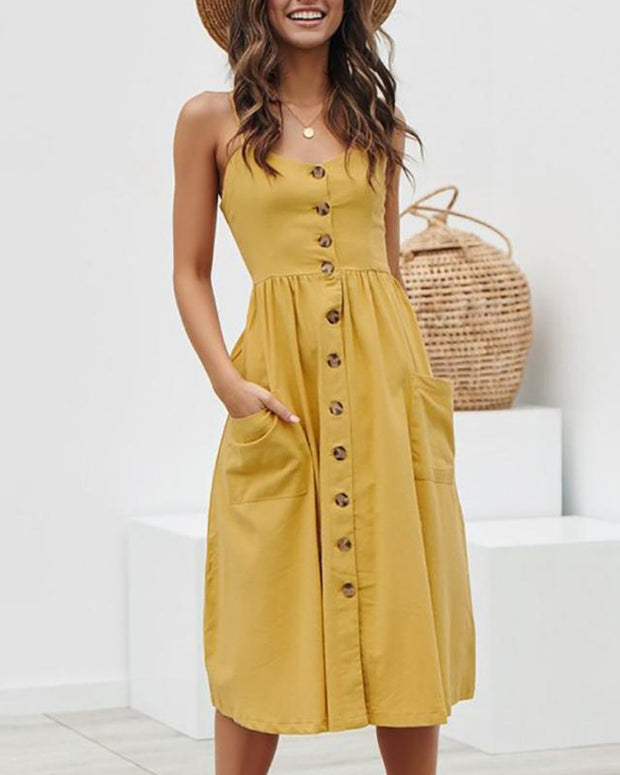 Casual Single Breasted Sleeveless Sling Dresses