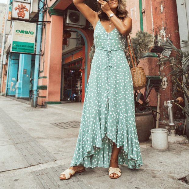 Vacation Polka Dot Printed Bohemia Style Maxi Dress