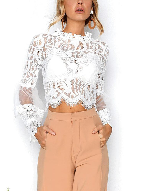 Irregular Lace Stitching Perspective Trumpet Sleeve Shirt