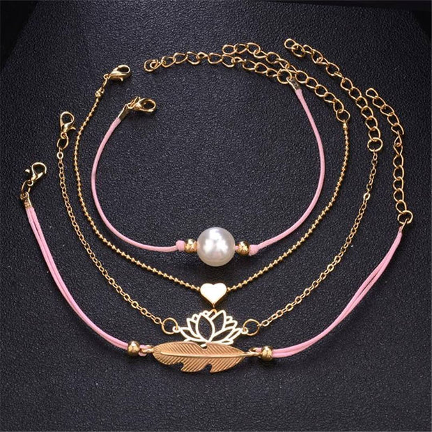 Fashion Woven Pearl Lotus Bracelet