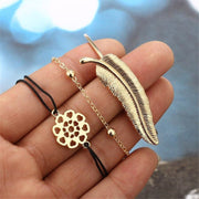 Fashion Personality Flower Leaf Feather Bracelet