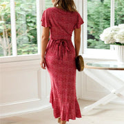 Vacation V Collar Printed Flying Sleeve Frenulum Maxi Dress