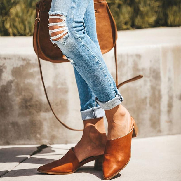 2019 Casual Fashion Artificial Leather Mules