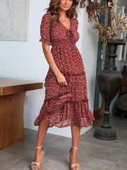 V-Neck Tie-Up Print Dress