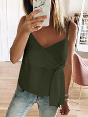 Sexy V Neck Pure Colour Belted Tank Top