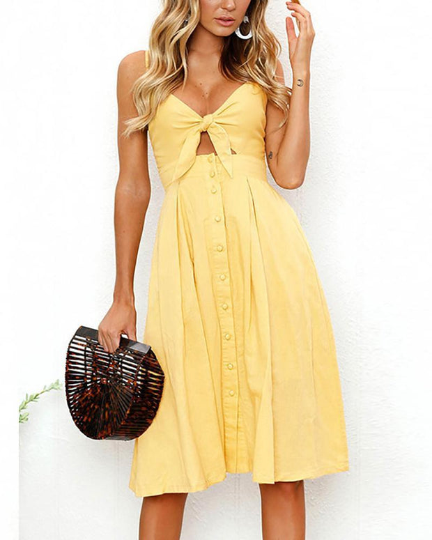 Sling Button Halter Bow Dress