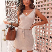 Fashion Lace Slim V-Neck Sleeveless Dress