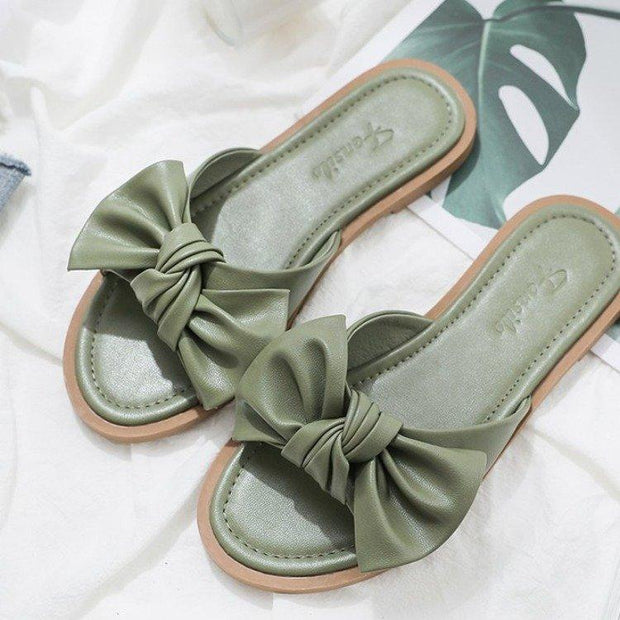 Summer New Fresh Wild Bow Sandals And Slippers