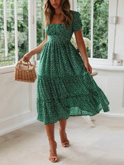 Elegant bubble sleeves square cut collar floral pattern dress