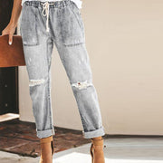 Cotton Straight Pants Women's Shredded Jeans
