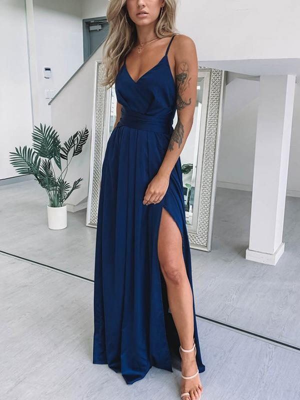 Fashion Sexy V Neck Plain Braces Evening Dress
