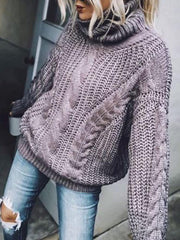 Fashion Pile Collar Solid Color Twist Knit Sweater