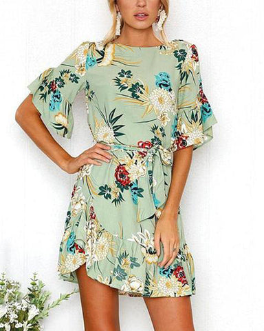 Casual Floral Print Half Sleeves Mini Dress