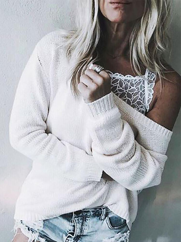 Women's round neck solid color loose sweater