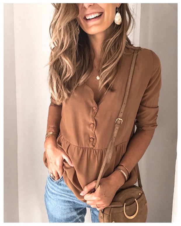 Casual Solid Color V-neck Single-breasted Long-sleeved Shirt