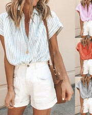 Lapel Stripe Loose Short Sleeve Shirt