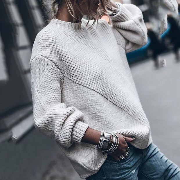 Casual White Short High Collar Loose Long Sleeves Sweater