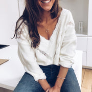 Sexy V Neck Pure Color Hollow Out Sweater