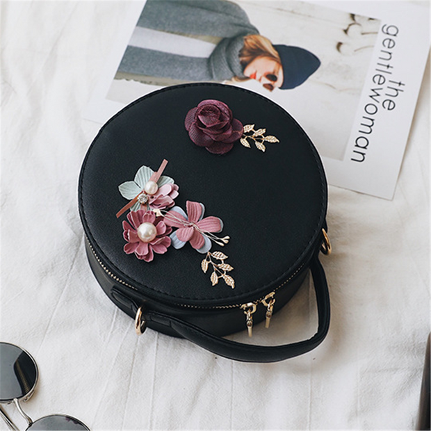 Flower decoration mini round crossbody bag
