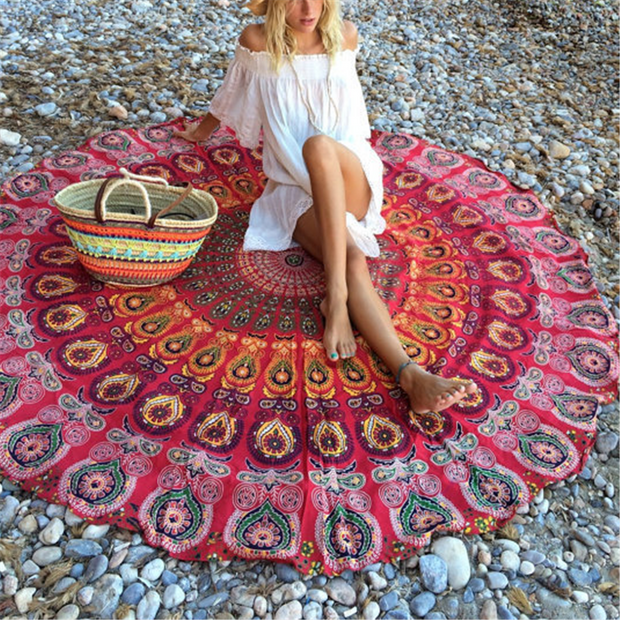 Round beach towel sunscreen shawl
