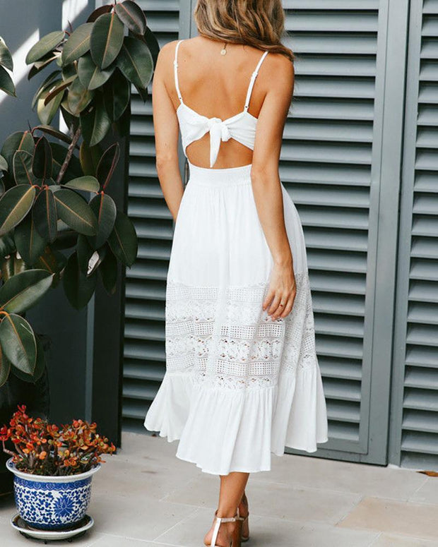 Openwork Lace Lace-Up Dress