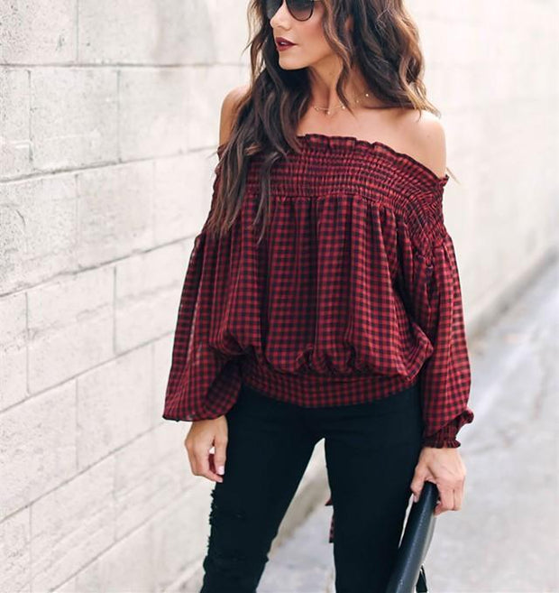 Casual sexy One word   led falbala off the shoulder Plaid T-shirt