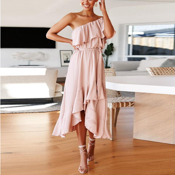 Solid Color One-Shoulder   Stitching Ruffled Dress