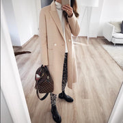 Sweet Plain Lapel Button Woolen Long Coat