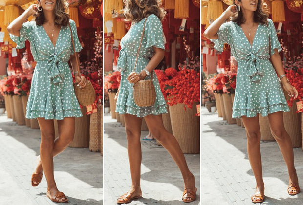 Polka Dot Print Knotted Waist Mini Dress