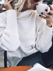 Women Brief High Neck Long Sleeve White Sweater